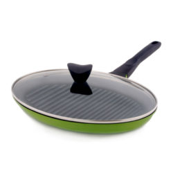 PORTO Diamond Coating Wide Oval Grill Pan W Lid 35cm