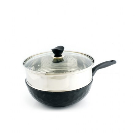 PORTO Honey Comb Marble Steamer Wok w/Glass Lid 30cm